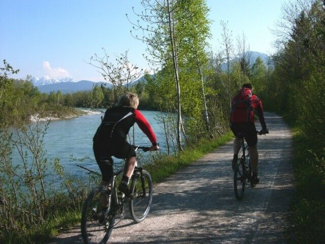 Cycling along the river Isar in Bavaria