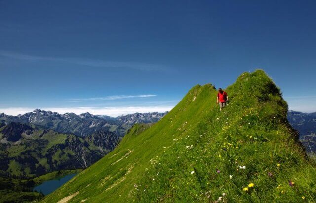 Hiker in the German Allgau Alps