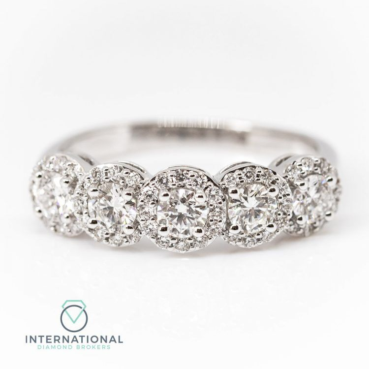 18ct White Gold & 1.15ct Diamond Five Stone Halo Ring