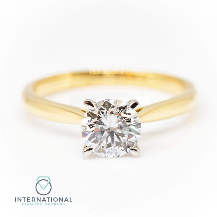 18ct Yellow Gold & 1.04ct Diamond 4 Claw Solitaire Engagement Ring