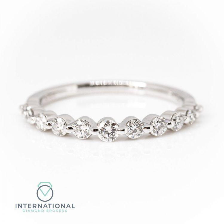 18ct White Gold 0.50ct Graduated Diamond Half Eternity Ring