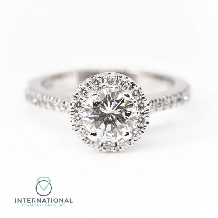 18ct White Gold & 1.06ct Diamond Halo Engagement Ring