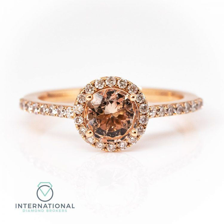 18ct Rose Gold, Round Morganite & Diamond Halo Cluster Ring