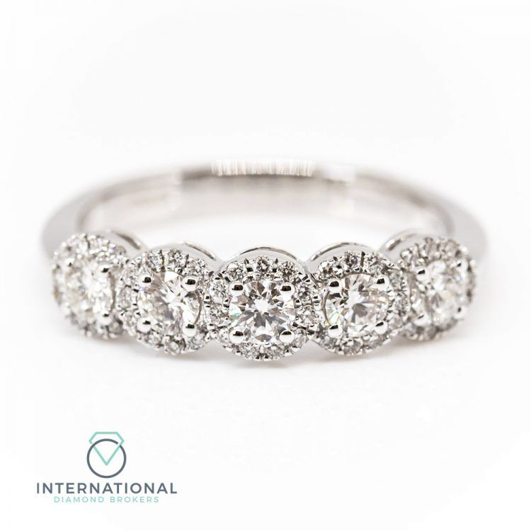 18ct White Gold & 0.85ct Diamond Five Stone Halo Ring