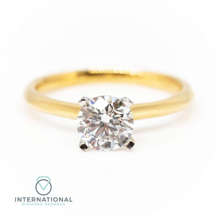18ct Yellow Gold & 1.03ct Diamond 4 Claw Solitaire Engagement Ring