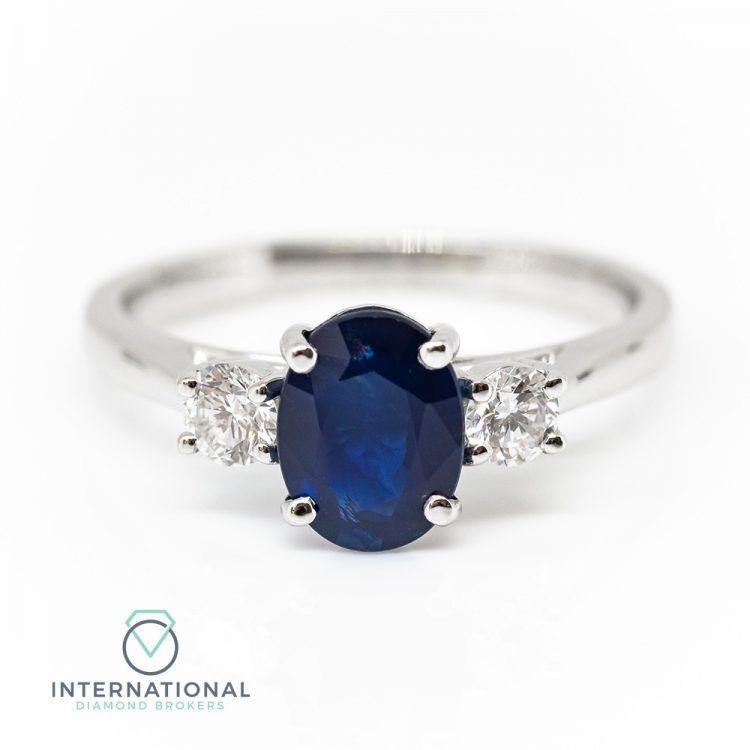 18ct White Gold, Sapphire & Diamond Trilogy Ring