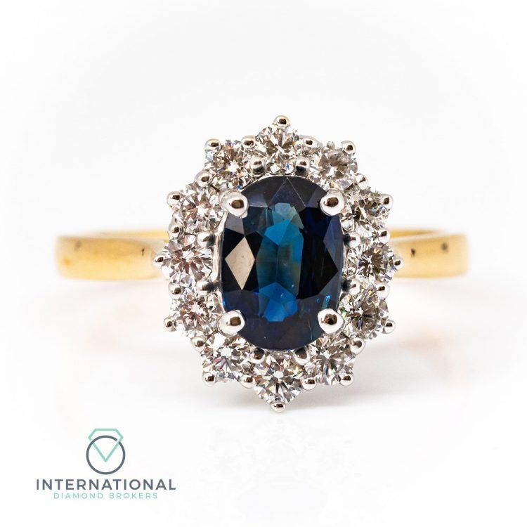 18ct Yellow & White Gold, Sapphire & Diamond Cluster Ring