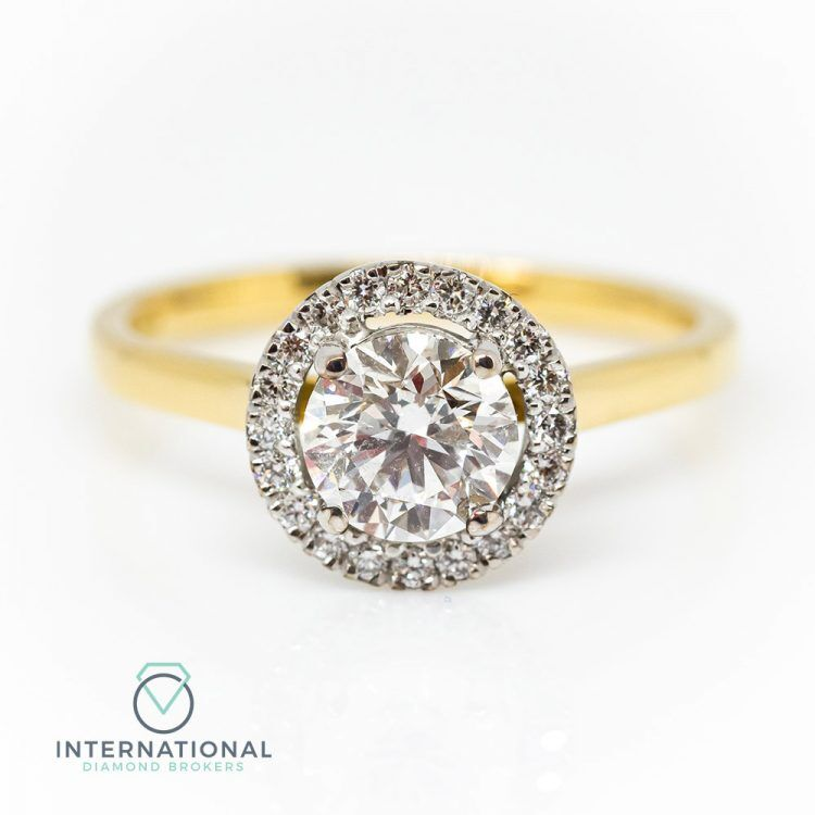 18ct Yellow Gold & Diamond Round Halo Engagement Ring