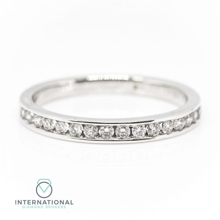 18ct White Gold 0.27ct Diamond Channel Set Half Eternity Ring