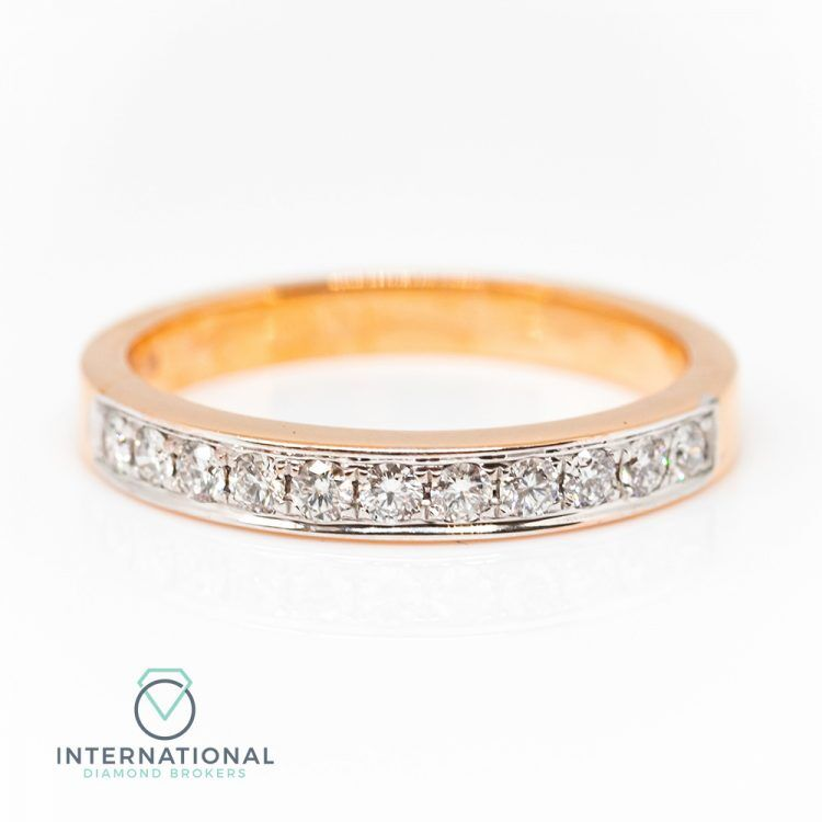 18ct Rose Gold 0.25ct Diamond Patterned Half Eternity Ring