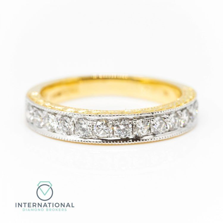 18ct Yellow Gold 0.50ct Diamond Patterned Half Eternity Ring