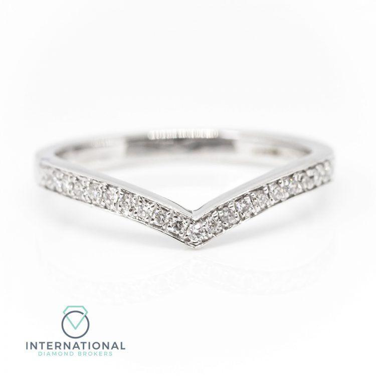 18ct White Gold 0.10ct Diamond 'V' Shaped Half Eternity Ring