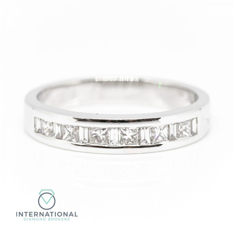 18ct White Gold 0.50ct Mixed Cut Diamond Channel Set Half Eternity Ring