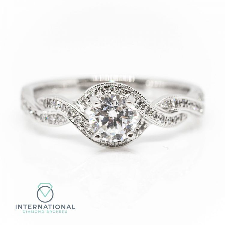 18ct White Gold & 0.48ct Diamond Solitaire Twist Engagement Ring