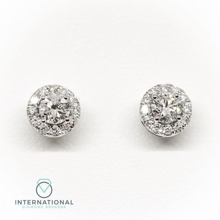 18ct White Gold & 0.90ct Diamond Halo Cluster Earrings