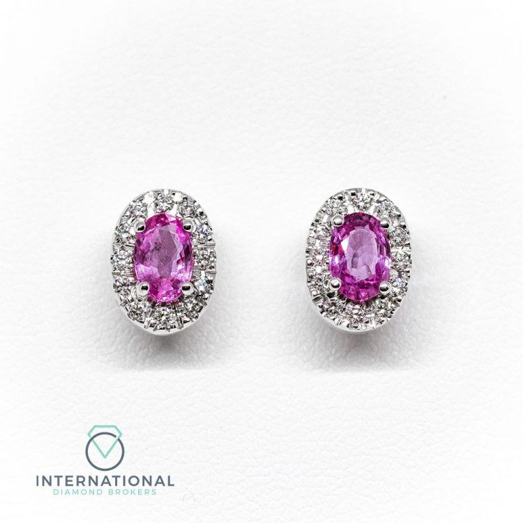 18ct White Gold, 1.04ct Pink Sapphire & Diamond Oval Cluster Earrings
