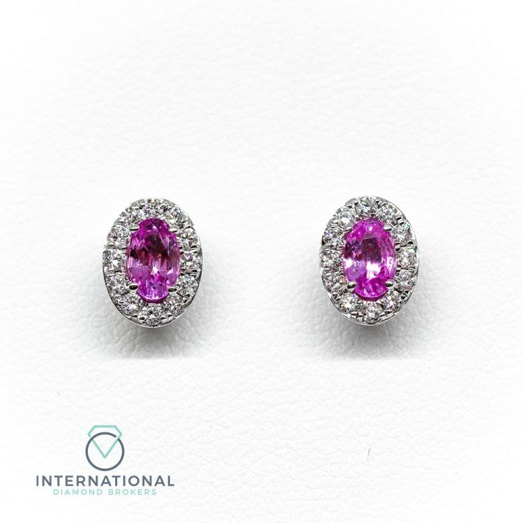 18ct White Gold, 0.70ct Pink Sapphire & Diamond Oval Cluster Earrings
