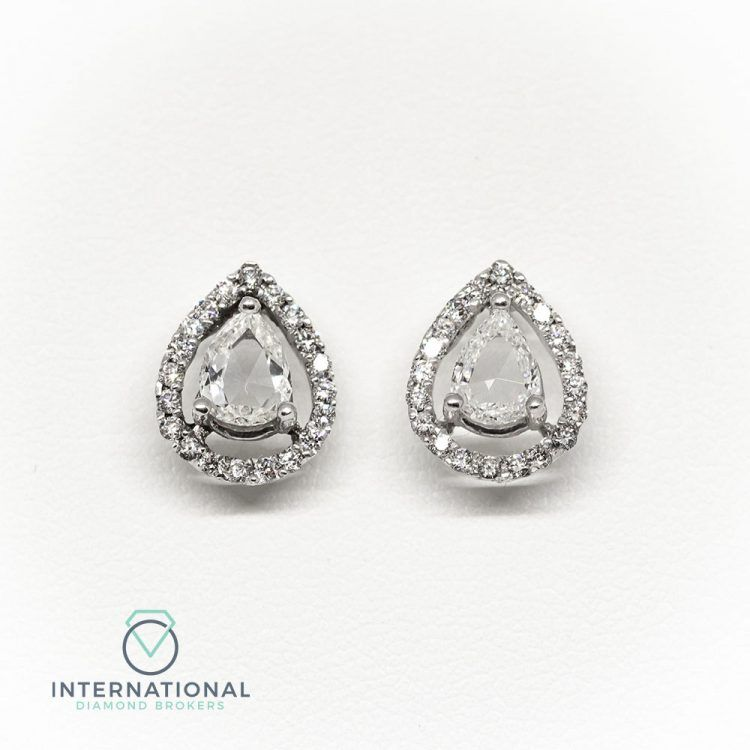 18ct White Gold & Mixed Cut Diamond Pear Shape Cluster Earrings