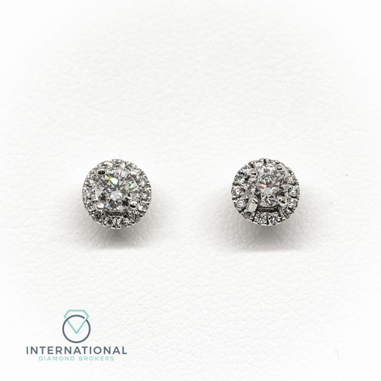 18ct White Gold & 0.60ct Diamond Halo Cluster Earrings