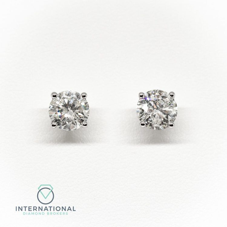 18ct White Gold, 1.00ct Diamond Single Stone Stud Earrings