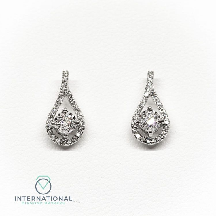 18ct White Gold & 0.30ct Diamond Fancy Stud Earrings