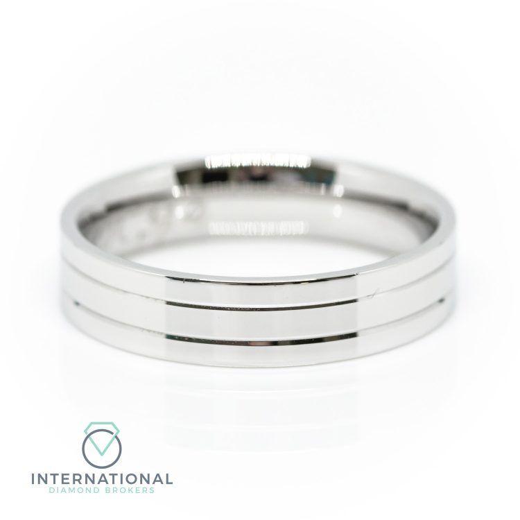 Gents Palladium Patterned Wedding Ring