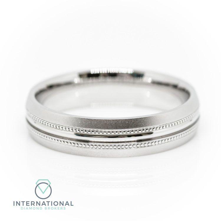 Gents 5mm Palladium Brushed & Polished Millegrain Patterned Wedding Ring