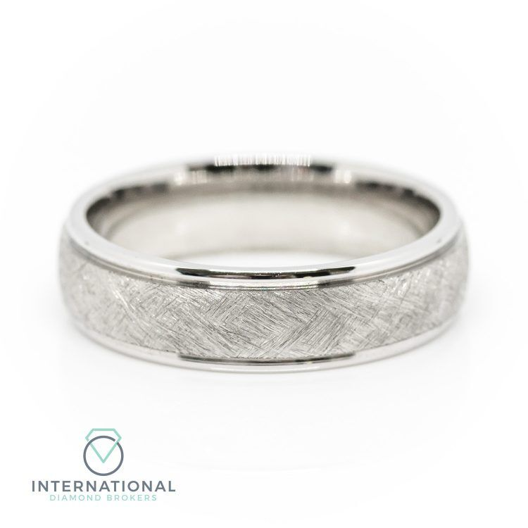 Gents 5mm Palladium Etched Patterned Wedding Ring