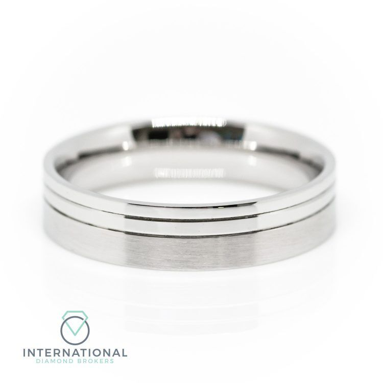 Gents 5mm Palladium Brushed & Polished Patterned Wedding Ring
