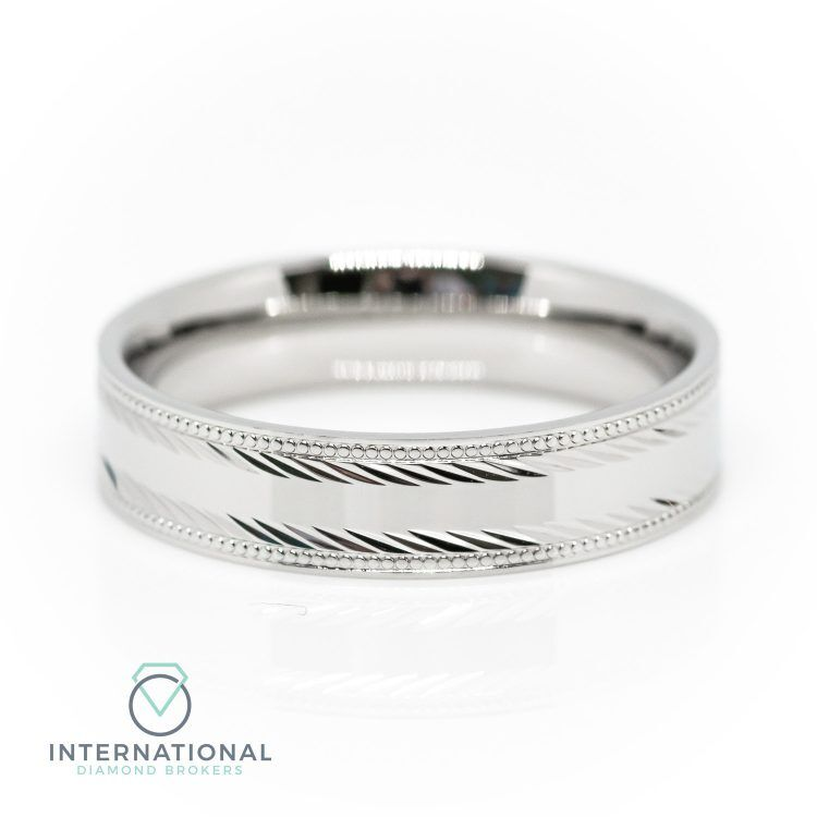 Gents 5mm Palladium Polished Etched Patterned Wedding Ring