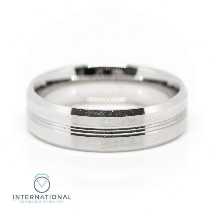 Gents 5mm Palladium Polished Bevelled Wedding Ring