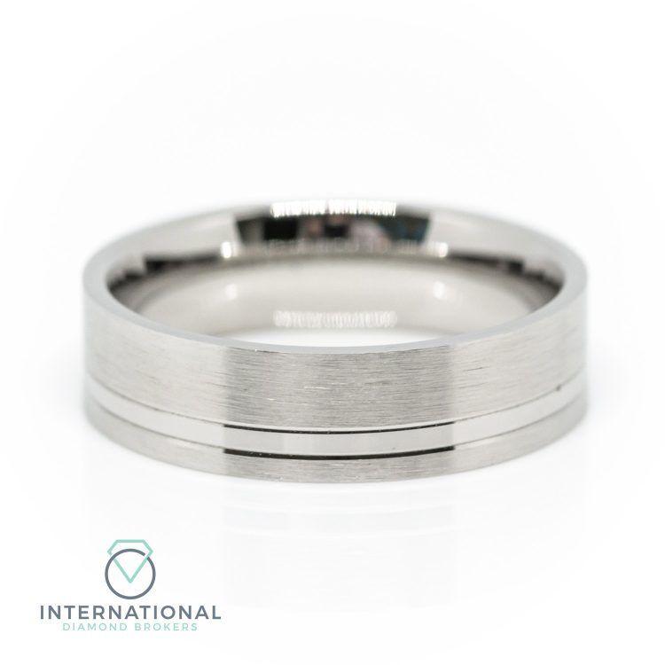 Gents 5mm Palladium Brushed Patterned Wedding Ring