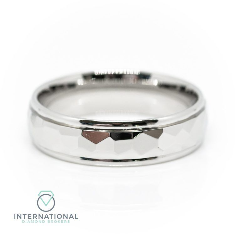 Gents 5mm Palladium Polished Hammered Patterned Wedding Ring