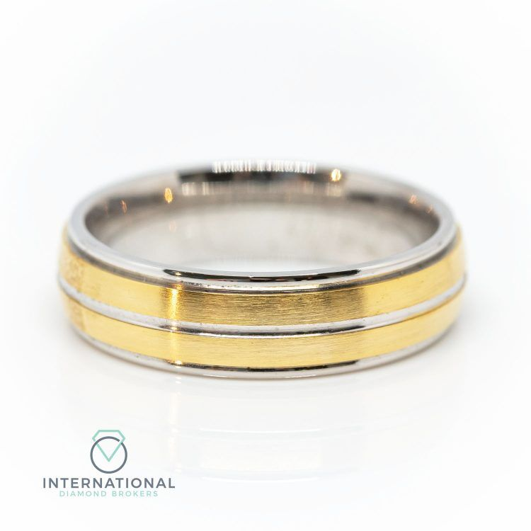 Gents 5mm 9ct Yellow Gold & Palladium Brushed & Polished Wedding Band