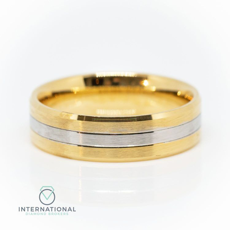 Gents 5mm 9ct Yellow Gold & Palladium Brushed Wedding Band