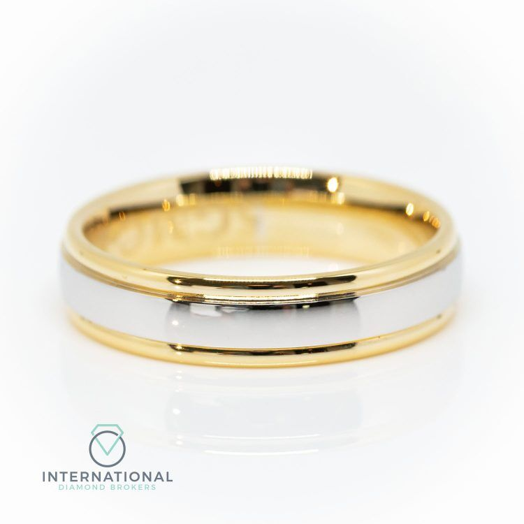 Gents 5mm 9ct Yellow Gold & Palladium Polished Wedding Band