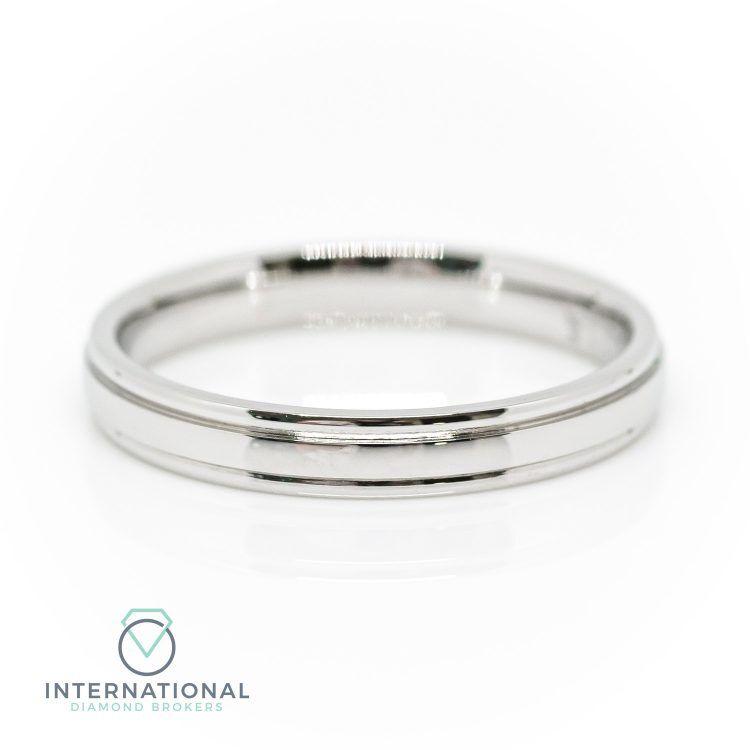 Ladies 3mm 18ct White Gold Patterned Wedding Ring
