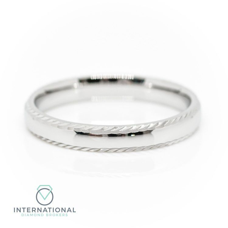 Ladies 3mm 18ct White Gold Polished & Patterned Wedding Ring