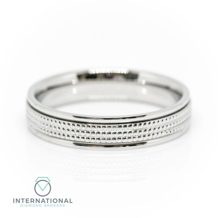 Ladies 3mm 18ct White Gold Millegrain Patterned Wedding Ring