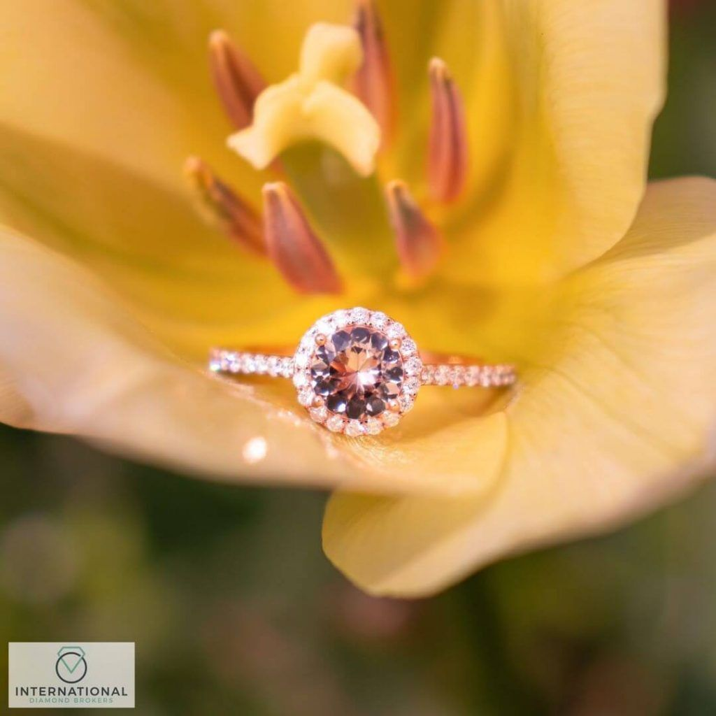 morganite diamond ring yellow flower