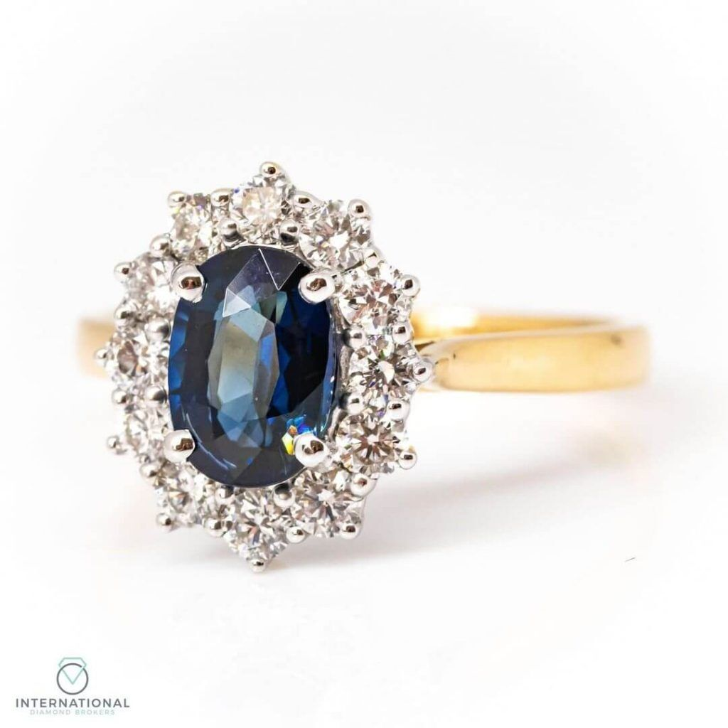 oval sapphire claw set ring