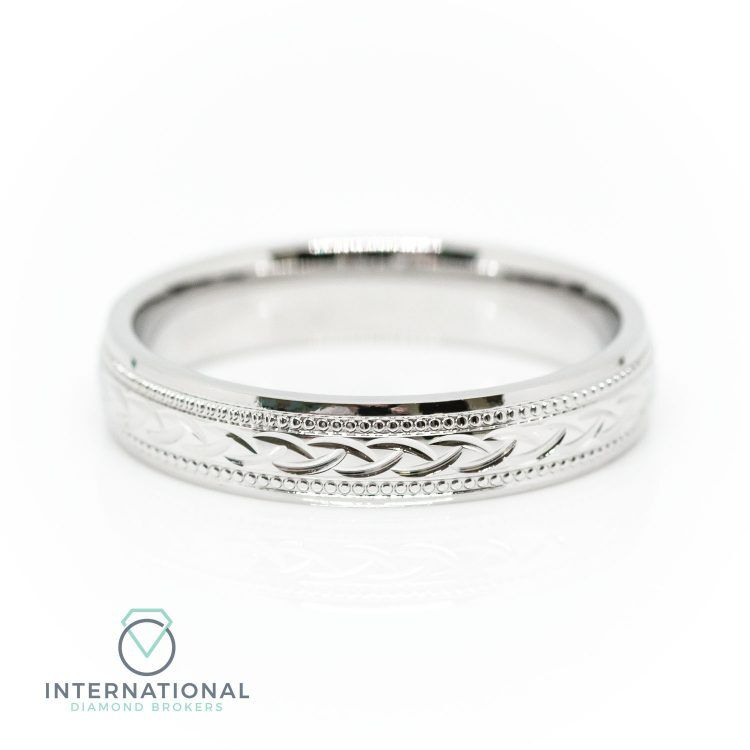 Ladies 3mm 18ct White Gold Celtic Patterned Wedding Ring