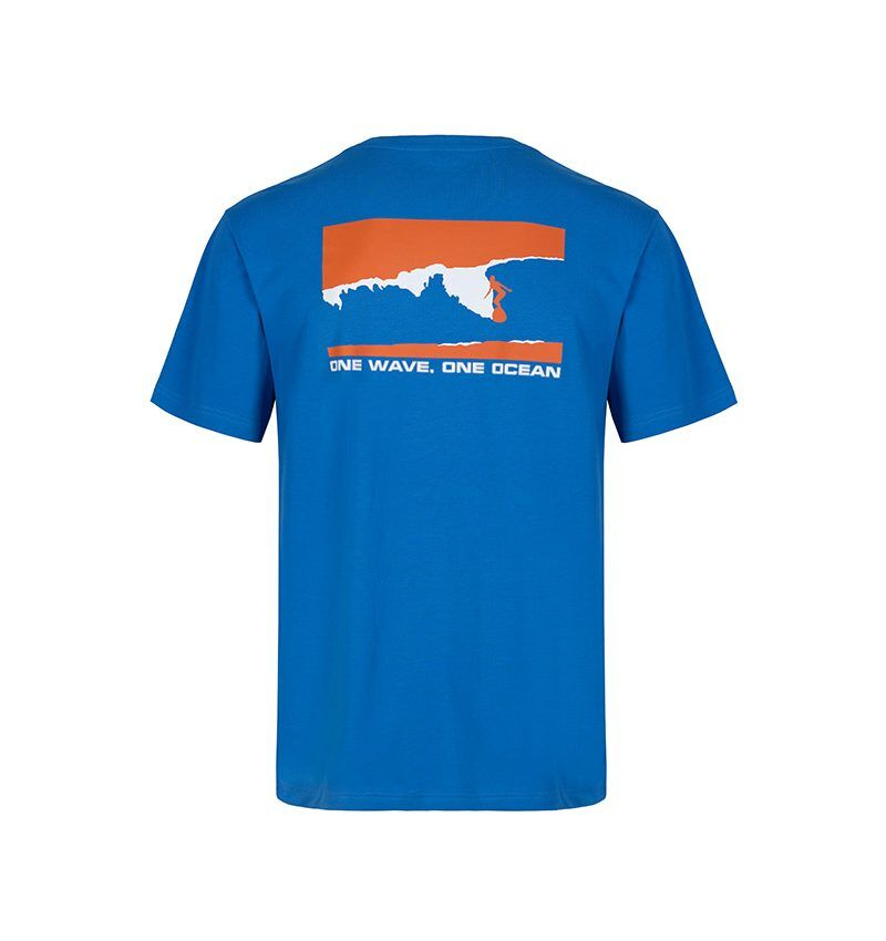 The ultramarine, T-shirt with the navy and white surf and spiritual graphic that says 'one wave, one ocean.'