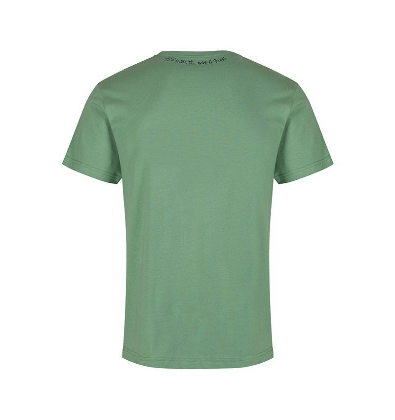The back of the Lao Tze inspired sage green T-shirt, 'flow with the way of things.'