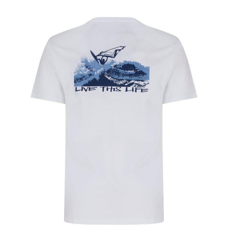 windsurfer and karma yoga white, organic t-shirt