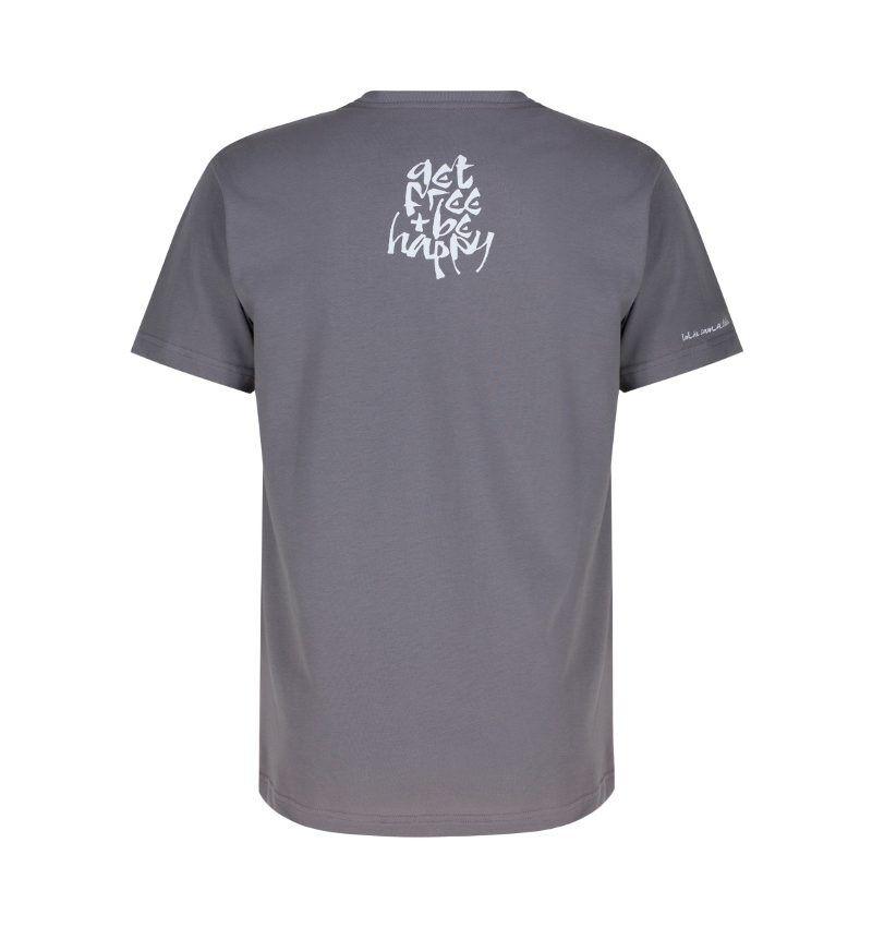 The back of the fossil grey Sanskrit inspired T-shirt, Lokah Samastah Sukhino Bhavantu, showing the back neck and sleeve hem screen prints