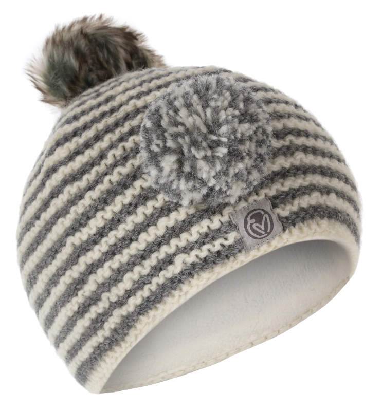 A hand knitted wool beanie with interchangeable wool and faux fur pom pom.