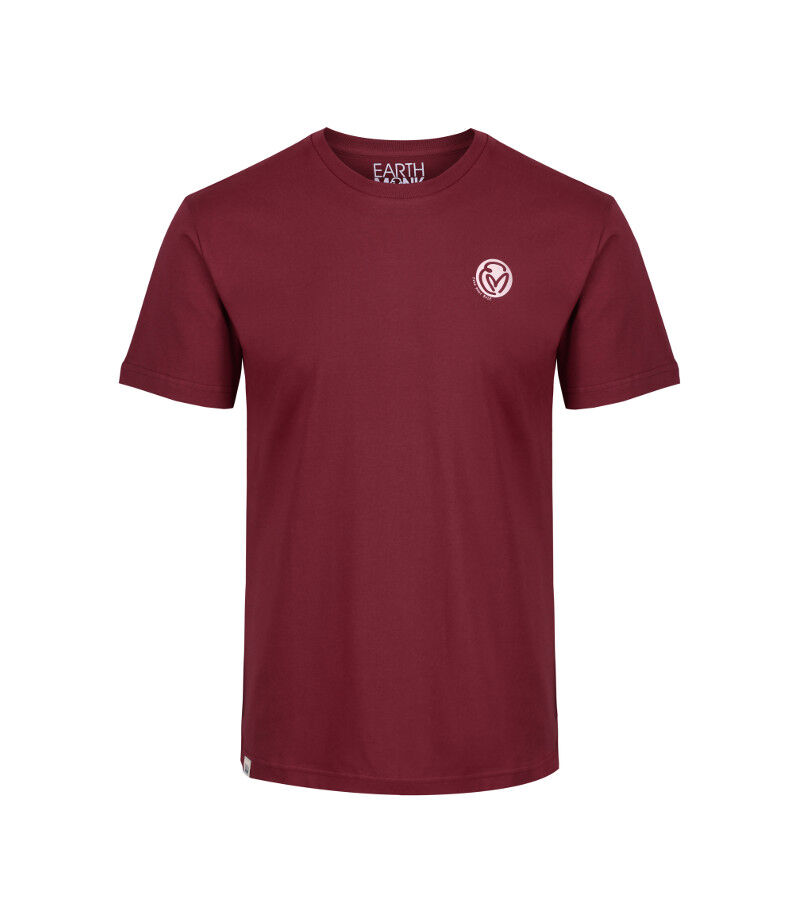 The front of the raisin short sleeve T-shirt with a Mongolian style seal that says 'harmony.'